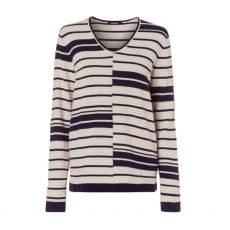 Olsen Stripe V Neck Sweater