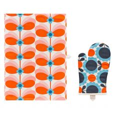 Orla Kiely Butterfly Stem Tea Towel and Oven Mitt  Set