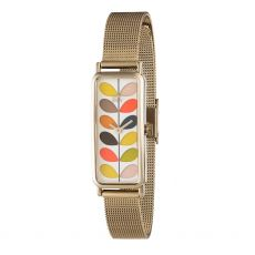 Orla Kiely Gold Rectangle Multi Stem Watch