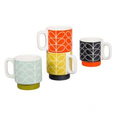 Orla Kiely Linear Stem Set of 4 Espresso Mugs