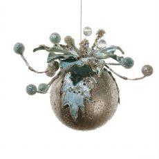 Ornate Ball with Blue Poinsettia Decoration