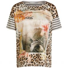Oui Animal Print Jersey Back T-Shirt