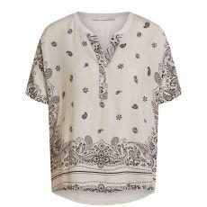 Oui Paisley Print Jersey Back Top White