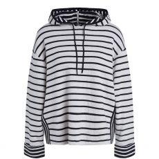 Oui Stripe Knitted Hoodie Grey