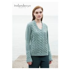 Aran Horseshoe V Neck Ocean Mist Sweater