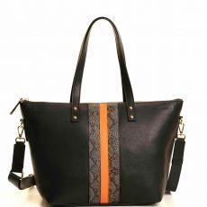Peelo Large Zip Leather Black Tote on model