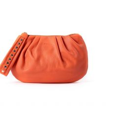 Peelo Cloud Orange Leather Clutch