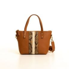 Peelo Mini Zip Cognac Leather Tote