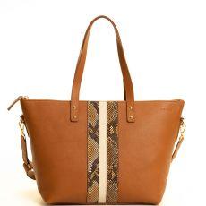 Peelo Large Zip Leather Cognac Tote lifestyle image