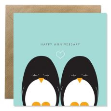 Happy anniversary card two penguins