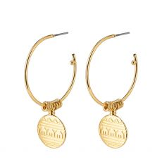 Pilgrim Native Beauty Coin Pendant Hoops Gold-Plated