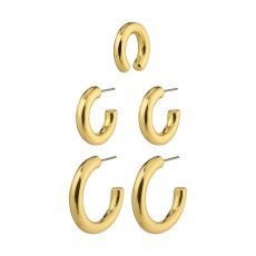 Pilgrim Reconnect Chunky Hoops And Ear Cuff, Gold-Plated