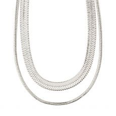 Pilgrim Reconnect Chunky Snake Chains, Silver-Plated