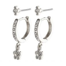 Pilgrim Sylvia Silver Crystal Earrings