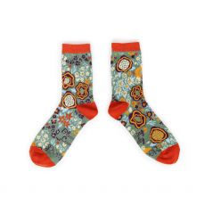 Powder Abstract Floral Ankle Sock