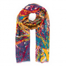 Powder Abstract Leaves Print Scarf