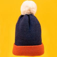 Powder Bonnie Navy & Tangerine Hat