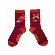 Powder Floral Pug Ankle Socks