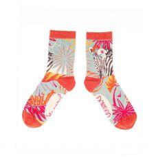 Powder Floral Zebra Ankle Socks