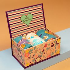 Powder Ladies Floral Deer Teal Sock Box