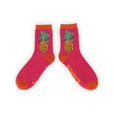 Powder Leopard Pineapple Ankle Socks