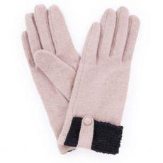 Powder Monica Wool Camel Gloves