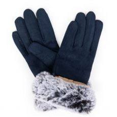 Powder Penelope Faux Suede Navy Gloves