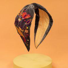 Powder Velvet Floral Embroidered Headband