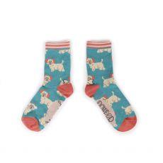 Powder Westie Earmuffs Ankle Socks