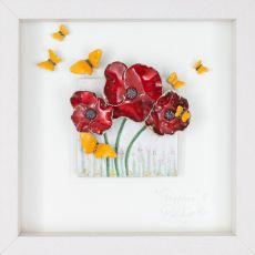 Rebeka Kahn 'Poppies with Butterflies' 26cm x 26cm