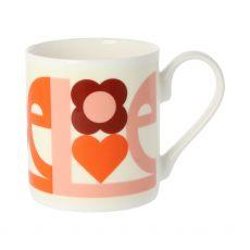 Orla Kiely Large Love Pink Mug