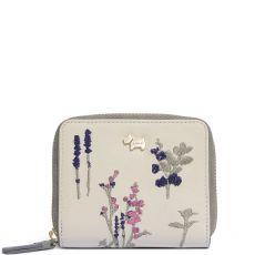 Radley Floral Embroidery Medium Zip Around Purse Mid Natural