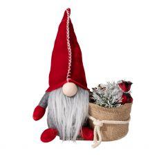 Red Gnome with Christmas Bag