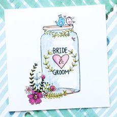 Ruby Doodle Bride & Groom Jam Jar Wedding Card mood