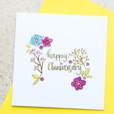 Ruby Doodle Happy Anniversary Floral Card