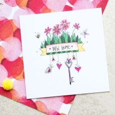 Ruby Doodle New Home Floral Card lifestyle