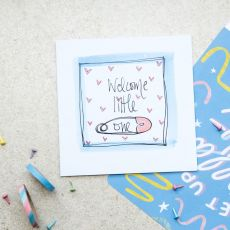 Ruby Doodle Welcome Little One New Baby Card mood