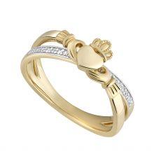 Solvar 14K Gold Diamond Claddagh Crossover Ring