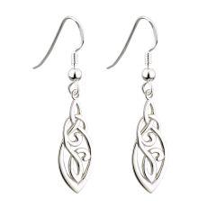 Solvar Sterling Silver Long Trinity Celtic Drop Earrings