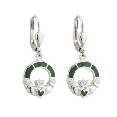 Solvar Sterling Silver Marble Claddagh Drop Earrings