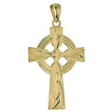 Solvar 9K 20Mm Engraved Celtic Cross Pendant