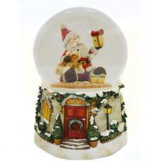 Santa and dog musical snow globe
