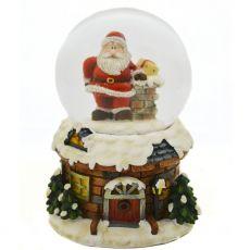 Light Up Santa On Chimney Snow Globe