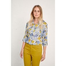 Seasalt Larissa Shirt Chalked Blooms Wild Pansy  model straight view