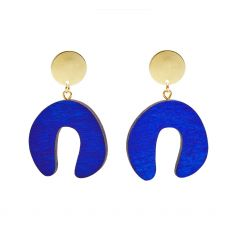Shock of Grey Doodle Blue Earrings