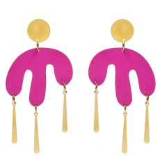 Shock of Grey Megamelt Hot Pink Earrings