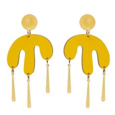 Shock of Grey Megamelt Yellow Earrings