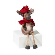 Sitting Christmas Reindeer with Scarf