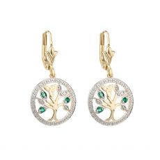 Solvar 14K Gold Tree Of Life Drop Earrings