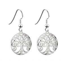 Rhodium plated drop earrings with the Tree of Life symbol from Solvar
